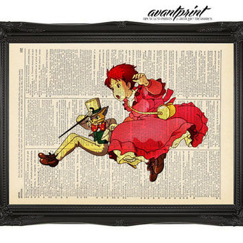 Whispers of the Heart Original Studio Ghibli Print on an Unframed Upcycled Bookpage