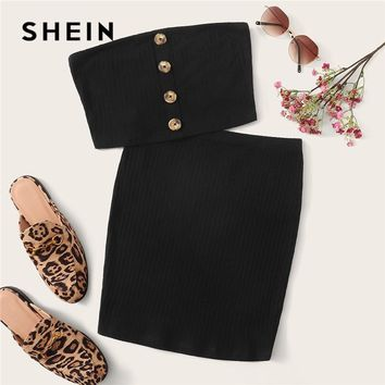 SHEIN Button Front Bandeau Crop Top And Bodycon Skirt Two Piece Set Women Summer Sollid Sleeveless Sexy Matching Sets