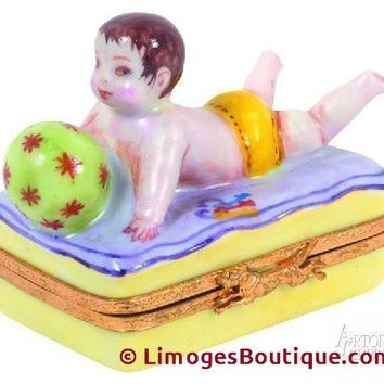 PLAYING W Ball Baby Figurine Limoges Boxes