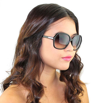 Black Large Frame Swarovski Crystal Beaded Sunglasses Fashion Eyewear