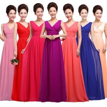 Bridesmaid Dresses 2015 Bride Fashion Evening Dress Long Chiffon Floor Length Plus Size Wedding Party Dress Sexy Prom Dress = 1929982596