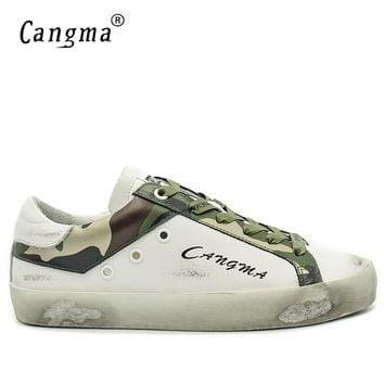 CANGMA Italian Designer Brand Sneakers Men Shoes Casual Shoes White Man Genuine Leather Footwear Camouflage Male Handmade Flats