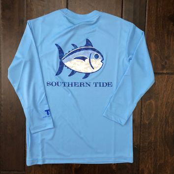 Southern Tide - Youth LS Camo Skipjack Performance Tee - Ocean Channel