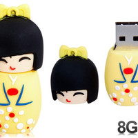 Cute Japanese Doll Design 8GB USB Flash Drive (Yellow)