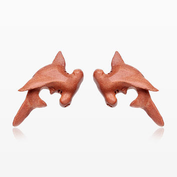 A Pair of Hammerhead Shark Handcarved Earring Stud