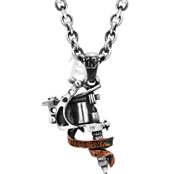 Tattoo Gun Art Pendant Necklace