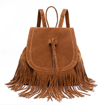 Suede Tassel Backpack