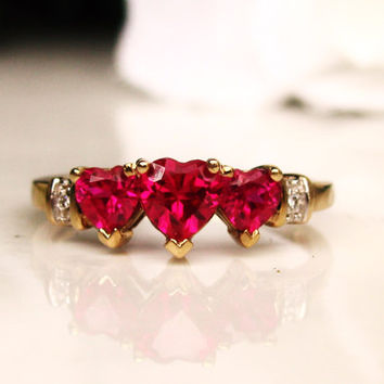 Three Stone Ruby Heart Ring 10K Gold Diamond Accent Promise Ring July Birthstone Ring Size 7!