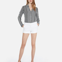 Mid Rise Cuffed Cotton-blend Shortie
