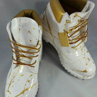"Custom White and Gold ""Cocaine"" Timberland Boots- Hand Painted Timberlands- Custom Timberlands- Men Woman Kids Timberlands"