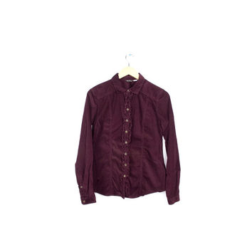 soft corduroy burgundy shirt / velvety victorian blouse / long sleeve / button down / womens small petite