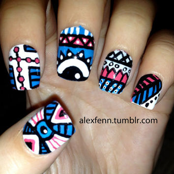 Blue and pink aztec eye nails by CompulsiveNails on Etsy