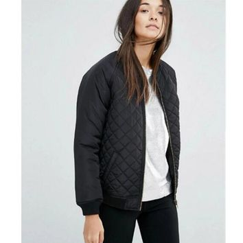 Trendy 2016 Harajuku Argyle Plaid Quilting Quilted Pilots Jacket Women Vintage Bomber Pilots Coat Outerwear Tops femme 5 color AT_94_13