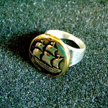 Stunning silver and bronze men's signet ring-Men sailing ship statement ring-925 silver signet ring-Artisan jewelry-Men vintage ring