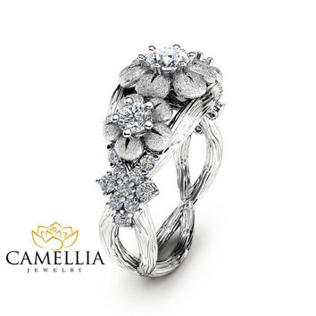 Unique Three Stone  Engagement Ring 14K White Gold Branch Ring Floral Ring with Natural Diamonds Inspired by Nature Engagement Ring