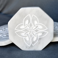Marble coasters octagon shape with hand carved Celtic symbol four leaf clovers