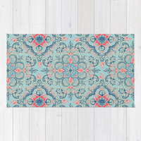 Gypsy Floral in Red & Blue Rug by Micklyn