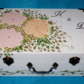 Wedding Guest Box Custom Wedding Keepsake Card Box Hand Painted Suitcase Card Box Personalized Wood Box Wedding Box Memory Box Wood Gifts