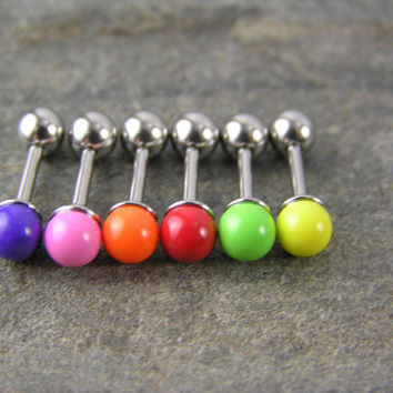 "Small Bright 16g 1/4"" Bubble Gum Candy Colored (4mm) Helix Earring Studs Purple Pink Orange Red Lime Green Yellow Cartilage Lobe Piercing"
