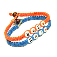 Bracelet Set for Couples or Best Friends, Coral and Bright Blue Hemp Jewelry, BAE, Before Anyone Else