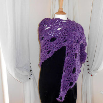 Clothing Gift. Women's Purple Shawl. Hand crochet ladies wrap. Wedding shawl.  Evening shawl. Hygge Wrap. Gift for wife. Soft Cosy Light.