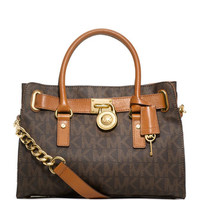 MICHAEL Michael Kors Hamilton MK Logo Satchel Bag, Brown
