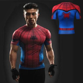 Men Sports T-shirt Raglan Sleeve Spiderman 3D Printed T shirts Compression Shirts  Crossfit Tops For Male Cosplay GYM MMA Tees