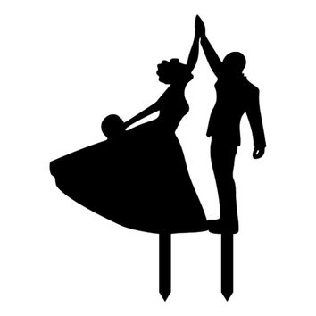 Dancing Bride and Groom High Five Silhouette Wedding Party Cake Topper
