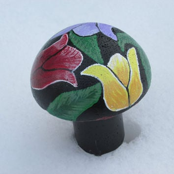 Concrete Tulip painted mushroom, hand painted flowers, garden decor, yard art, EASTER, SPRING TULIP, Yellow, Red, Purple