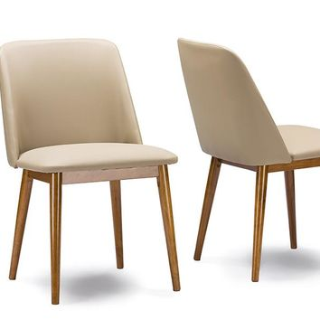 "Baxton Studio Lavin Mid-Century ""Walnut"" Light Brown/Beige Faux Leather Dining Chair Set of 2"
