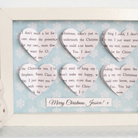 Christmas Personalised Frame Gift - 3D Song Hearts Frame - Christmas Gift Christmas Wedding First Christmas