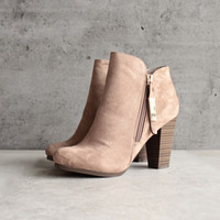 almond toe stacked heel vegan suede booties - natural
