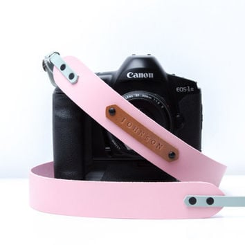 DSLR camera strap. Light Pink with light blue leather. Monogram personalization. Canon camera strap. Nikon camera strap. Photographers gift.