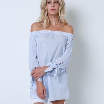 No Matter What Pinstripe Tunic Top - Blue Off-Shoulder
