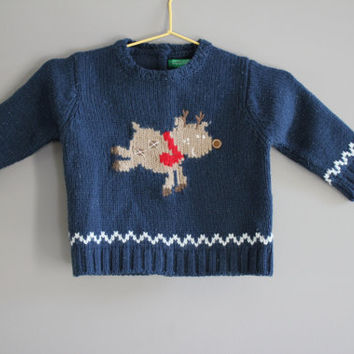 Infant Knit Sweater / Cardigan / United Colour of Bennetton / Infant clothing / Baby Wear / Kid Vintage / Size 0 to 3 Months