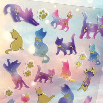 cute cat Fancy cat sticker Fairy tale animal world tiger cat deco sticker cat themed naughty pet cat street cat bow tie collar cat gift