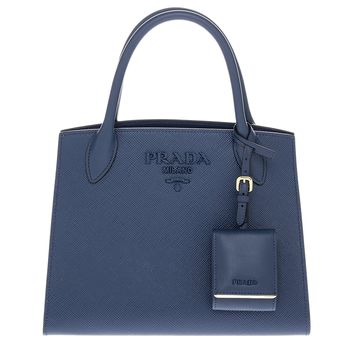 Prada Women's Monochrome Saffiano Leather Bag Navy Blue