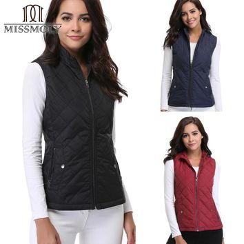 Miss Moly 2017 Women Autumn Winter Stand Collar Casual Sleeveless Waistcoat Zip Up Front Gilet Quilted Padded Basic Vest Femme