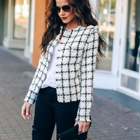 Windsor Embellished Frayed Tweed Jacket - Off White
