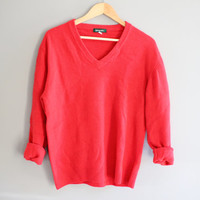 Red Minimalist V Neck Pullover Sweater Unisex 100% Wool 90s Red Vintage Unisex size m - l