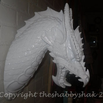 Faux taxidermy / Dragon Head /Fantasy /  Modern / Boys Room / Wall Decor / High Gloss White / Horns / Animal Head Wall Mount