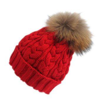VONESC6 Superior Winter Hat Women Korean Girl Big Hair Bulb Buttons Knitting Hat Winter Warm Cap Elegant Cute Female Headdress