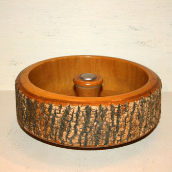Adirondack Cabin Decor Rustic Primitive Wood Bowl Wood Nut Bowl Treen Ware Fall Decor Tree Bark Bowl Rustic Decor Primitive Decor Home Decor