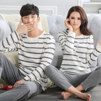 100% cotton ! Stripe Couple Autumn Sleep Lounge Pant+Tops 2 Piece Pijamas Couples Womens Men Pyjama Sets Lovers Sleep Wear J0004