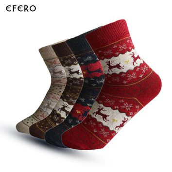 1PairWomen's Socks Christmas Gift Sock With Animals Calcetines Mujer Female Warm Socks Colorful Snowflake Cute Funny Socks Meias