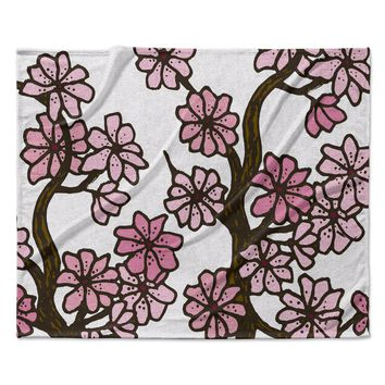 "Art Love Passion ""Cherry Blossoms"" White Pink Fleece Throw Blanket"