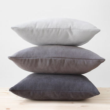 Gray Pillow Covers, Solid Grey Throw Pillow, Cotton Chenille Cushion, Modern Minimalist Decor, Gray Lumbar Pillow, Light Gray, Dark Gray