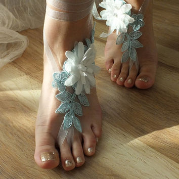Blue Barefoot Sandals, ivory 3D flowers bareoot  sandals, lace sandals, Nude shoes, Foot jewelry,Wedding, Sexy, Yoga, Anklet , Belly Dance
