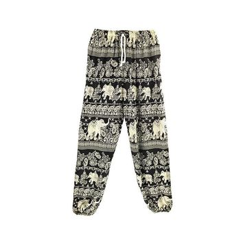 Women Elephant Print Yoga Pants Thailand Loose Harem Style Pants Fitness Running Sport Pants Drawstring Waist Trousers Quick Dry