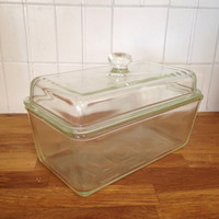 Vintage Westinghouse Green Clear Glass Refrigerator Dish with Cover Bread Loaf Refrigerator Dish